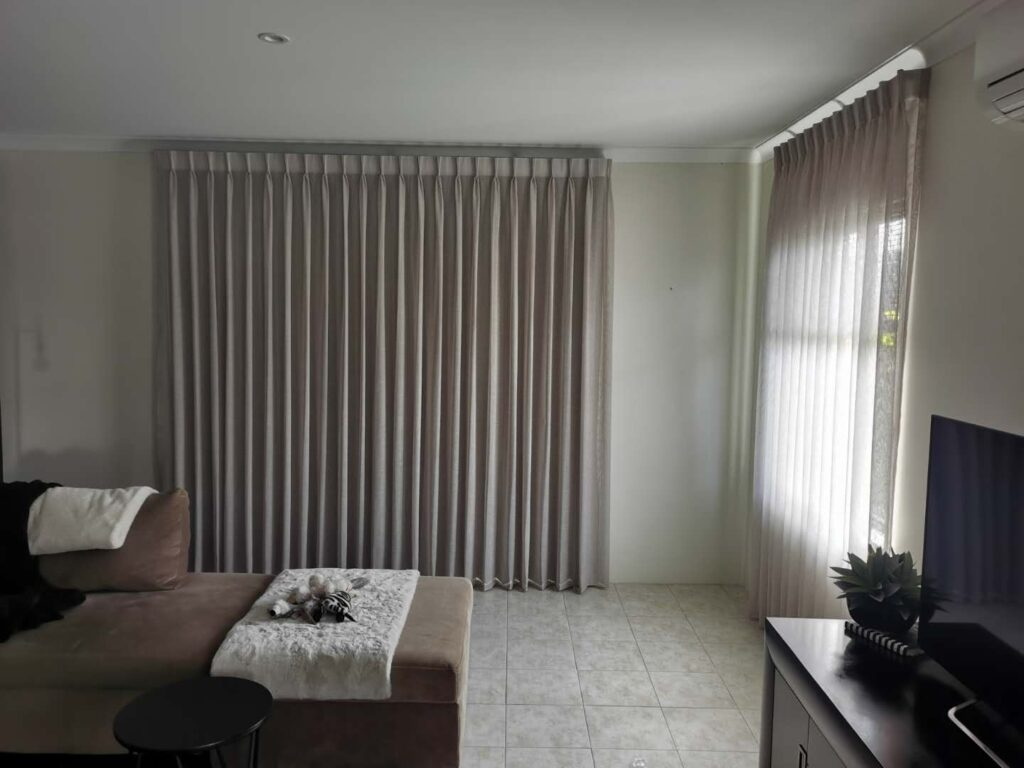 Blockout curtains in bed room.