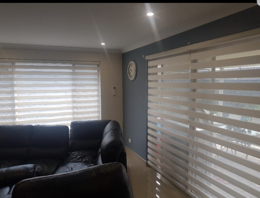 A beautiful room having black couches and white zebra blinds on windows.
