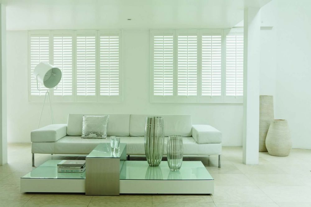Custom Plantation Blinds and Shutters for living rooms. Installation Perth