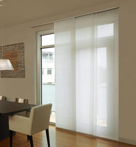 White panel blinds for room